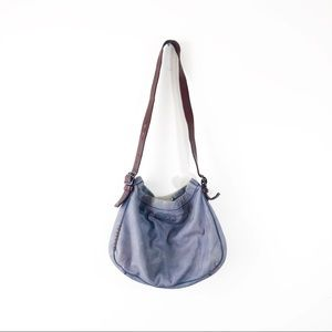 Lucky Brand Blue Grey Leather Tote Shoulder Purse